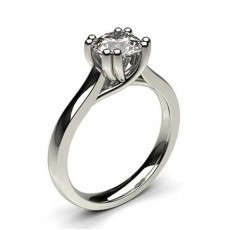 Double Prong Setting Round Diamond Plain Engagement Ring