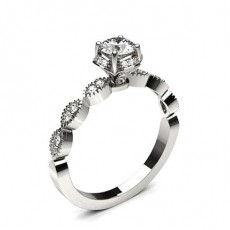 Round Platinum Vintage Engagement Rings