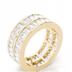 Baguette Yellow Gold Full Eternity Diamond Rings