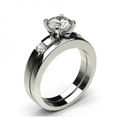 Round White Gold Bridal Set Engagement Rings