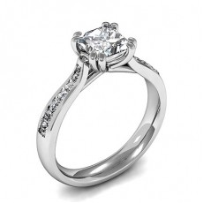 Double Prong Setting Side Stone Engagement Ring