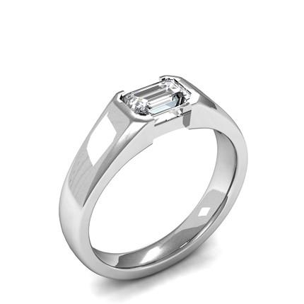 Semi Bezel Setting Emerald Diamond Plain Engagement Ring