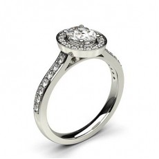 Oval White Gold Halo Engagement Rings
