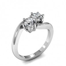 4 Prong Setting Round Diamond Plain Engagement Ring