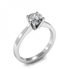 4 Prong Setting Round Diamond Plain Engagement Ring
