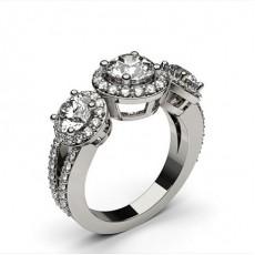 Round White Gold 3 Stone Diamond Rings