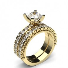 Emerald Yellow Gold Bridal Set Engagement Rings