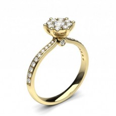 Round Yellow Gold  Cluster Diamond Engagement Rings