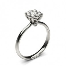 Round White Gold Cluster Diamond Engagement Rings
