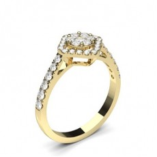 Round Yellow Gold Halo Engagement Rings
