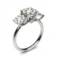Round Platinum Cluster Diamond Engagement Rings