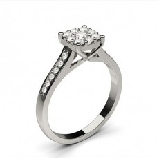 Round Silver Side Stone Diamond Rings