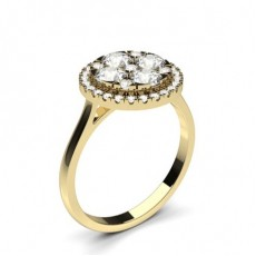 Round Yellow Gold Diamond Cluster Rings