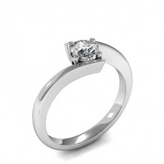 3 Prong Setting Heart Diamond Plain Engagement Ring