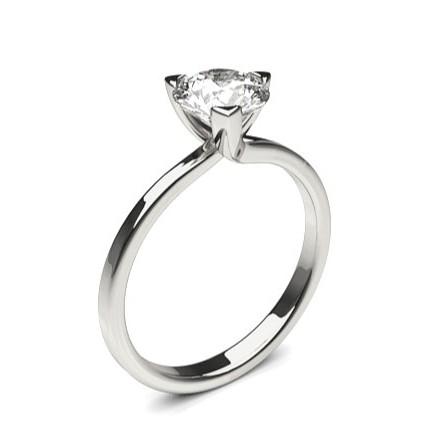 3 Prong Setting Round Diamond Plain Engagement Ring