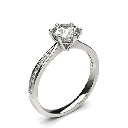6 Prong Setting Side Stone Engagement Ring