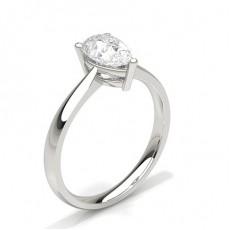Pear Platinum Classic Solitaire Engagement Rings