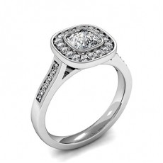 Cushion White Gold Halo Diamond Engagement Rings