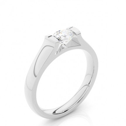 Tension Setting Oval Diamond Plain Engagement Ring
