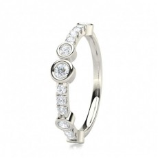 Round White Gold Half Eternity Diamond Rings