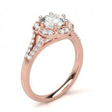 Round Rose Gold Halo Diamond Engagement Rings
