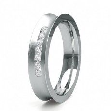 5.00mm Studded Slight Comfort Fit Diamond Wedding Band