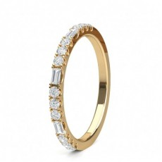 Mixed Shapes Yellow Gold Half Eternity Diamond Rings