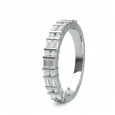 Mixed Shapes White Gold Half Eternity Diamond Rings