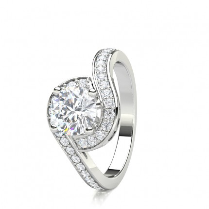 6 Prong Setting Plain Halo Engagement Ring