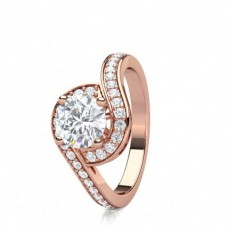 Rose Gold  Halo Diamond Engagement Rings