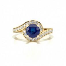 Round Yellow Gold Gemstone Engagement Rings