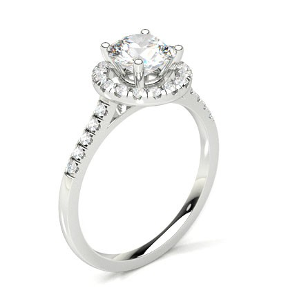 Buy Semi Bezel Setting Round Diamond Plain Engagement Ring Online Uk