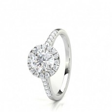 Semi Bezel Setting Round Diamond Plain Engagement Ring