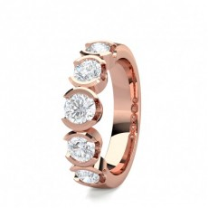 Round Rose Gold 5 Stone Diamond Rings