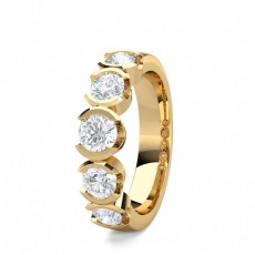 Rund Gelbgold 5 Diamanten Diamantringe