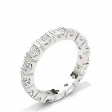 Princess White Gold Full Eternity Diamond Rings