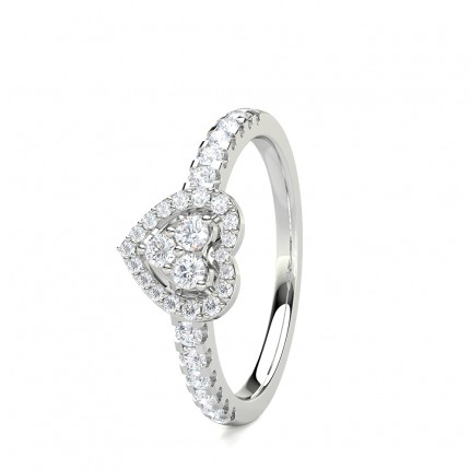 Pave Setting Round/Baguette Diamond Cluster Ring