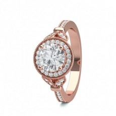 Princess Rose Gold Contemporary Engagement Rings