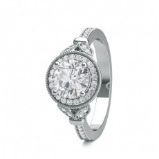 Round White Gold Vintage Diamond Engagement Rings