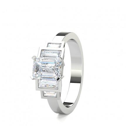 Bezel Setting Diamond Five Stone Enagagement Ring