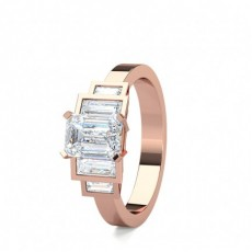Mixed Shapes Rose Gold 5 Stone Diamond Rings