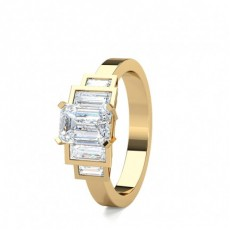 Mixed Shapes Yellow Gold 5 Stone Diamond Rings