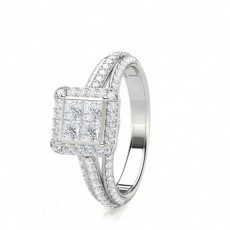 Mixed Shapes Platinum Cluster Diamond Rings