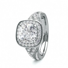 Cushion White Gold Contemporary Engagement Rings