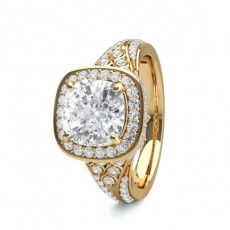 Cushion Yellow Gold Contemporary Engagement Rings