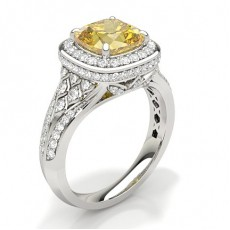 Cushion Yellow Diamond Engagement Rings