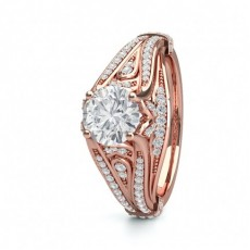 Round Rose Gold Contemporary Engagement Rings