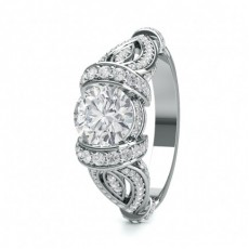 Tension Setting Studded Engagement Ring