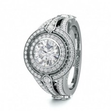 Round White Gold Contemporary Engagement Rings
