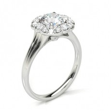 Round White Gold Halo Engagement Rings